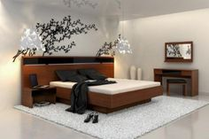 Japanese-Inspired Bedroom Designs Collection : Enthralling White Japanese Bedroom Design with Chic Wood Frame Bed and Cherry Blossoms Wall D...