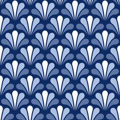 splash 1in3 - artnou blue fabric by sef on Spoonflower - custom fabric