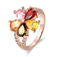 Hot Sale Women Fashion Flower shape Ring Nickle Free Antiallergic Jewelry White Plated Zircon Ring for Women Gift