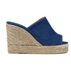 Castaner Women's Bubu Wedged Espadrilles (125 CAD) ❤ liked on Polyvore featuring shoes, sandals, blue, high heel platform sandals, blue strappy sandals, wedge sandals, denim wedge sandals and slip on wedge sandals