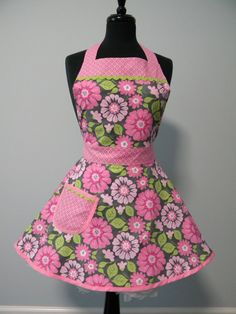 Pink & Gray Floral Full Apron by MyEmptyNestDesigns on Etsy, $32.00