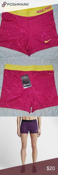 "NIKE PRO 3"" COOL PALM COMPRESSION SHORTS Nike shorts made up of 80% Polyester and 20 % Spandex with an elastic waitsband. Shorts have a  compression feel for for support. Dri-fit fabric wicks moisture and keeps you cool. Color is a solid fushia color with light strips of pink. The waistband is a neon  green color. Nike Shorts"