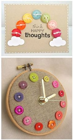 button clock on an embroidery hoop! cute!