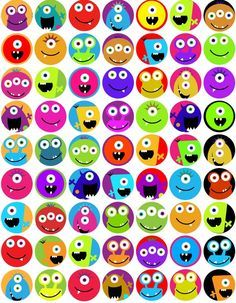 KPM digitale Collage Blatt Monster 1 Zoll-circles KPM digital collage sheet Monster 1 by kpm Monster Party, Monster Birthday Parties, Cute Monsters, Little Monsters, Monster Classroom, Bottle Cap Magnets, Mothers Day Crafts For Kids, Classroom Themes, Collage Sheet