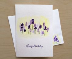 Hand Painted Greeting Card 5x7 Lavender Birthday Original Watercolor Cards Handmade With Matching Envelop