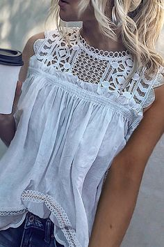 Decorative Lace Patchwork Lace Plain Blouses - You can find Lace tops and more on our website. Lace Top Outfits, Lace Outfit, Casual Outfits, Cute Outfits, Look Fashion, Spring Summer Fashion, Summer Outfits, Clothes For Women, Stylish