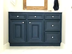 DIY Napoleonic Blue Bathroom Vanity Makeover