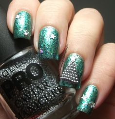 Mollon Pro Caviar Manicure Nº6 Silver & Shimmer Jasmine &  Color Club Perfect Molten & Christmas Tree