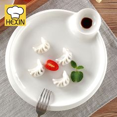 Porcelain Tray with Sauce Cup | China Dinnerware & Triangle Dinner Plate | Commercial Dinnerware | Appetizer Plates ...