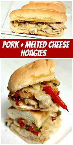 Pork and Melted Cheese Hoagies recipe from RecipeGirl.com #pork #melted #cheese #hoagie #hoagies #sandwiches #recipe #RecipeGirl Fun Easy Recipes, Popular Recipes, Healthy Dinner Recipes, Vegetarian Recipes, Delicious Recipes, Healthy Food, Sandwich Recipes, Pork Recipes, Cooking Recipes