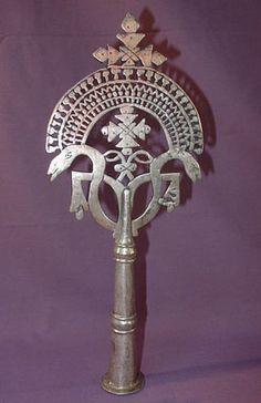 Handmade Ethiopian Coptic Christian processional cross the spiritual emblem of Christian Ethiopia.