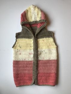 Child Hooded Vest Crochet Pattern - Crochet It Creations Crochet Boys Sweater Pattern Free, Crochet For Boys, Crochet Poncho, Knitting For Kids, Basic Crochet Stitches, Crochet Basics, Baby Patterns, Crochet Patterns, Sewing Pockets