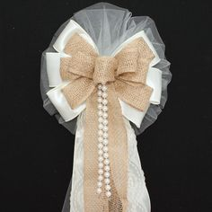Ivory Burlap Lace Pearls Rustic Wedding Bows - Package Perfect Bows - 1
