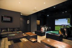 Browse Full Swing's golf simulator installation gallery and product images. Golf simulators for residential, commercial, events, and athletic programs. Home Golf Simulator, Indoor Golf Simulator, Golf Man Cave, Sala Vip, Golf Room, Golf Academy, Golf 7, Media Room Design, Golf Simulators