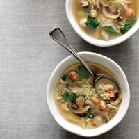 Chicken-and-Orzo Soup | http://www.rachaelraymag.com/recipes/rachael-ray-magazine-recipe-search/soup-recipes/chicken-and-orzo-soup