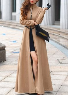 Fine Quality Mandarin Collar Long Sleeve Maxi Coat with Zipper
