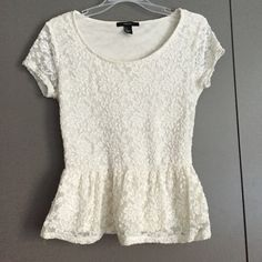 "Forever 21 lace white peplum top Adorable and summery top with white lace and peplum feature. Length: 21"". Forever 21 Tops Blouses"