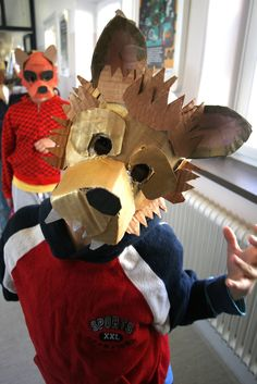 Cardboard Animals, Cardboard Mask, The Shadow Side, Hidden Identity, Wolf Mask, Animal Masks, Cosplay, Diy Mask, Puppets