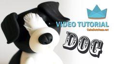 How to make a Border Collie Dog Cake Topper - Cake Decorating Tutorial - Free Cake Videos Dog Cake Topper, Cake Topper Tutorial, Fondant Tutorial, Cupcake Toppers, Pug Cake, Bulldog Cake, Dachshund Cake, Fondant Dog, Fondant Animals