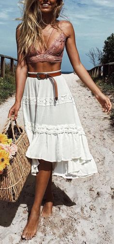 #summer #outfit / Asymmetrical Embroidered Skirt + Triangle Bra Top