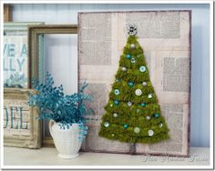 Christmas tree made with trim on background of book pages (could use Christmas sheet music too)