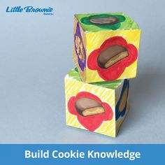 Take your cookie knowledge to new heights! With this creative and colorful activity, girls get to build their own masterpieces and gain cookie knowledge at the same time. All you'll need is markers, scissors and tape. Buy Girl Scout Cookies, Girl Scout Cookie Sales, Brownie Girl Scouts, Scout Mom, Daisy Girl Scouts, Girl Scout Troop, Girl Scout Activities, Craft Activities, Gs Cookies