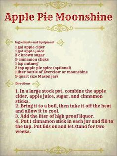 Oct Apple Pie Moonshine - Use Everclear for the liquor.add and whole to recipeApple Pie Moonshine Party Drinks, Cocktail Drinks, Fun Drinks, Yummy Drinks, Bourbon Drinks, Liquor Drinks, Craft Cocktails, Cranberry Cocktail, Cranberry Juice