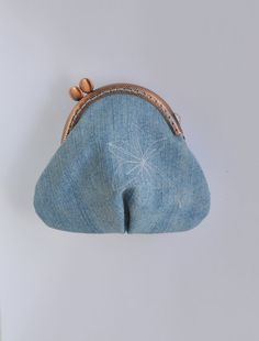 Blue jeans  coin purse Small Blue purse handmade by Blackpassion