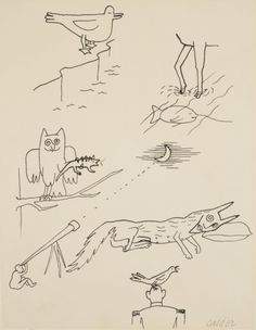 "Alexander Calder; Ink on Paper, ""Untitled, for 'A Bestiary',"" 1955."