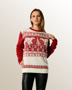 PARTY ANIMAL - Ugly Christmas Sweaters PARTY ANIMAL is a bold and bright holiday sweater with a tame side. Cuddle up by a winter fire with the one you love or the one you just met. Either way, the PARTY ANIMAL is man and woman's best friend this christmas season.