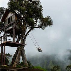 Swinging Off The Edge Of The World At Casa Del Arbol In Bańos, Ecuador