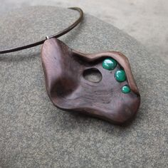Wood stone pendant necklace   Australian by NaturesArtMelbourne,