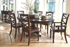 The quality craftsmanship is clear to see. The classic design elements—including the pedestal base and turned detailing—are easy to love. Porter dining room table is beautifully elegant, without looking fussy. Let style come full circle with a round table design, or pop in the leaf for more table space in a shapely oval.
