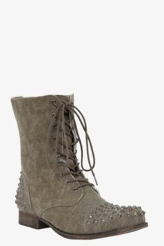 Olive Studded Canvas Boots