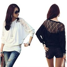 2016 New Product Women's Batwing Long Sleeve Tops Hollow Out Lace Spliced Loose T-Shirt #Affiliate