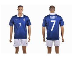France Home 2014 The World Cup Franck Ribery 7# Football Shirt Navy And White Shorts prices USD $19.50 #cheapjerseys #sportsjerseys #popular jerseys #NFL #MLB #NBA