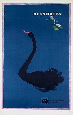 1962 Australia, Perth vintage travel poster / black swan