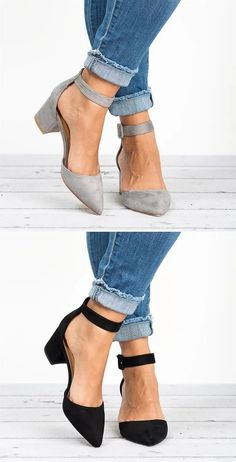 $31.99 USD Sale! Free Shipping! Shop Now! Pointed Toe Chunky Heel Pumps Adjustable Buckle Heel Sandals Chunky Heel Pumps, Pumps Heels, Cute Shoes, Me Too Shoes, Plus Size Boots, Buckle Boots, Pretty Outfits, Vintage Ladies, Fashion Shoes