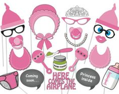 Girl Baby Shower Photobooth Party Props Set - 22 Piece PRINTABLE - Baby shower Photo Booth Props