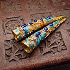 传统宫廷花丝镶嵌鎏金烧蓝珐琅青金石指甲套
