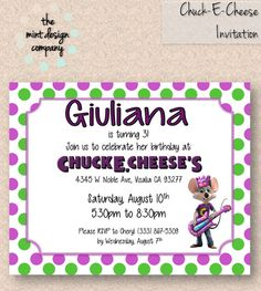 101 best pretty parties images on pinterest birthday party chuck e cheese birthday party invitation by themintdesigncompany 1500 themintdesigncompany filmwisefo