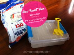"""Rice """"Sand"""" Box via @committedgifts Indoor sandbox for kids! How-to: http://committedgifts.wordpress.com/2012/09/25/rice-rice-baby-too-cold/#"""