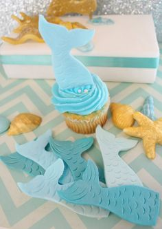 Fondant Edible Mermaid Cupcake Toppers 12 qty Mermaid TAILS ONLY cupcake toppers for Under the Sea Party, Mermaid, Little Mermaid, Beach on Etsy, $18.00