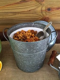 Sometimes it's all about presentation! Chex mix in galvanized bucket for our rustic shower!