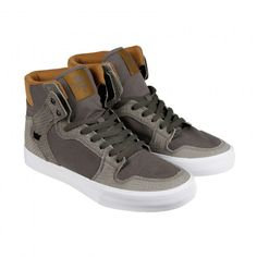48  Supra Vaider Mens Tan Suede High Top Lace Up Sneakers Shoes