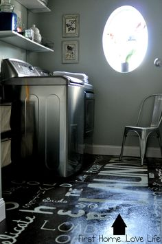 First Home...Love Life: Subway Art Floor - Cool idea for the utility room :)- Laundry