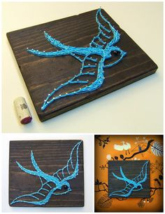 String Art Pattern Vintage Swallow Tattoo 8.5 x 13 by NineRed