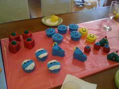 Mr Men Cupcakes. LOTS and LOTS of Colouring those kids ate.