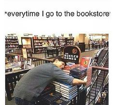 Especially in the aisle with The Hunger Games trilogy! I feel like the books are my friends, or my good sister, and I'm genuinely fond of them. Thank you Suzanne Collins Hunger Games Memes, The Hunger Games, Hunger Games Catching Fire, Hunger Games Trilogy, I Love Books, Good Books, Book Of Life, The Book, Tribute Von Panem