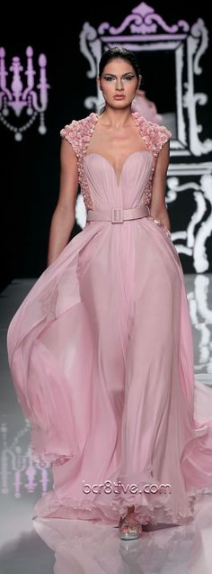 Abed Mahfouz Couture - SS More subtle than a spring pink. Abed Mahfouz, High Fashion Dresses, Pink Fashion, Couture Fashion, Georges Chakra, Stephane Rolland, Elie Saab, Beautiful Gowns, Beautiful Outfits